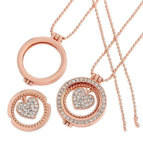 Rose Gold Floating Charms Herz  Medaillon ohne GLAS inkl. Kette