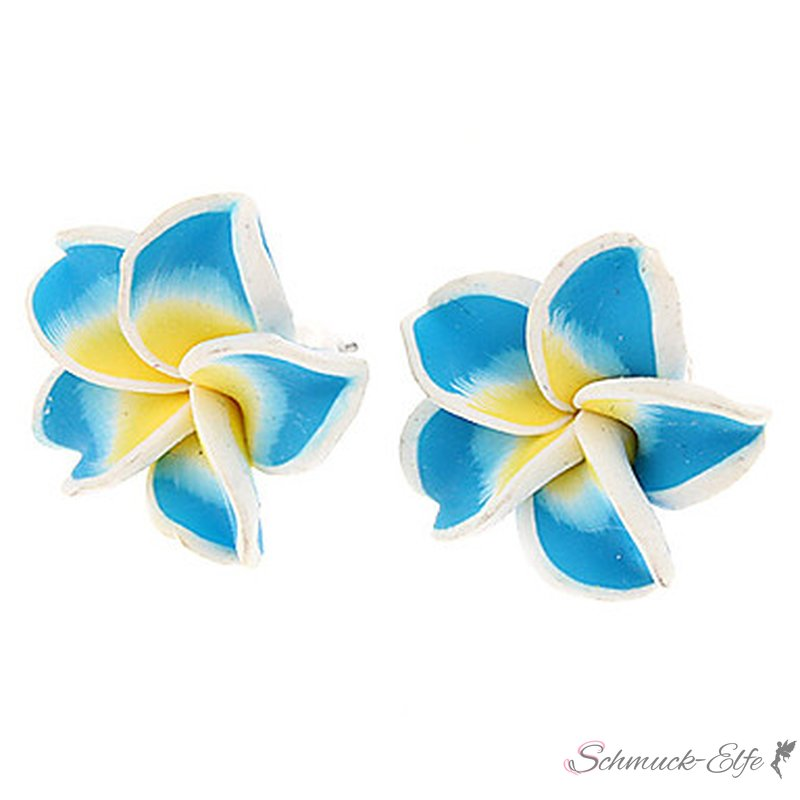 1 Paar FIMO Blüten Ohrstecker weiß türkis gelb ...