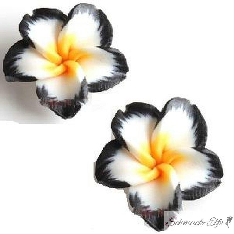 1 Paar FIMO Blüten Ohrstecker schwarz weiß gelb...