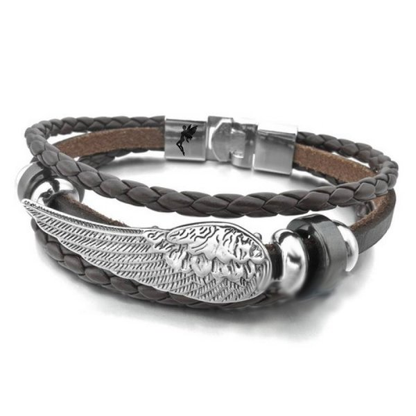 Kunstleder Armband mit Edelstahl Elementen Strass Silber Weiss