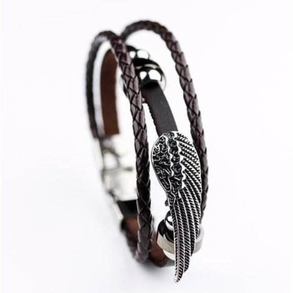 Lederarmband echt Leder Armband Holzperlen /& Metallringen /& Charm Braun L 25