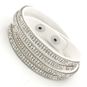 Wickel Lederarmband Strass WHITE