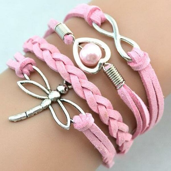 Armband Libelle & Infinity mit Perle rosa