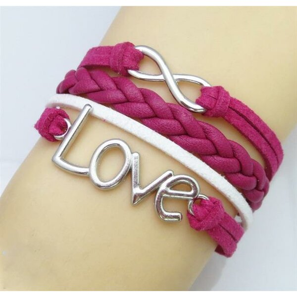 Armband LOVE Infinity hot pink  im Organza Beutel