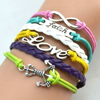 Armband ANKER & LOVE & FAITH multicolour