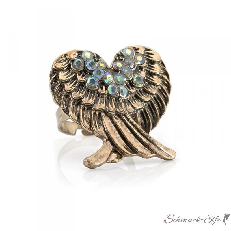 Engelsflügel Ring antik gold mit Strass im Schm...