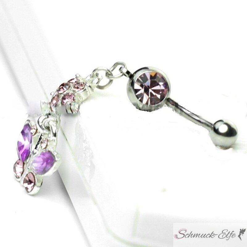 Bauchnabel Piercing rosa Strass Schmetterling l...