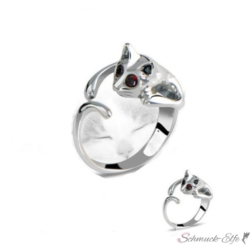 Katzen Ring Silber mit Strass Augen rot im Schm...