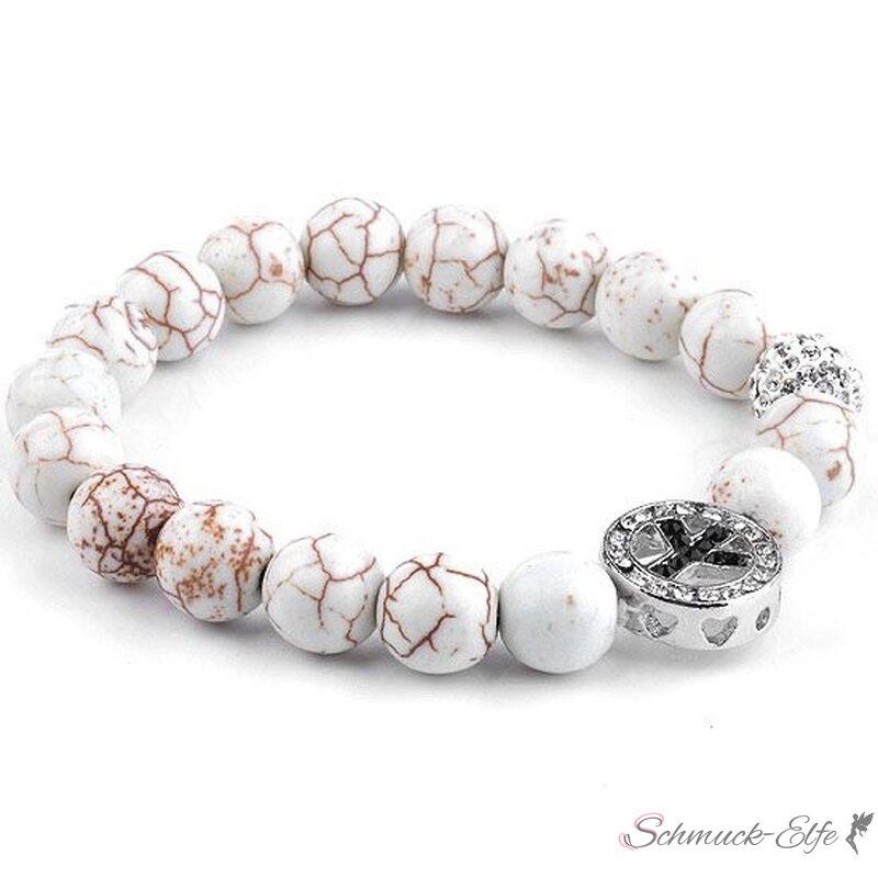 Armband PEACE Strass Howalith Perlen creme weiß...