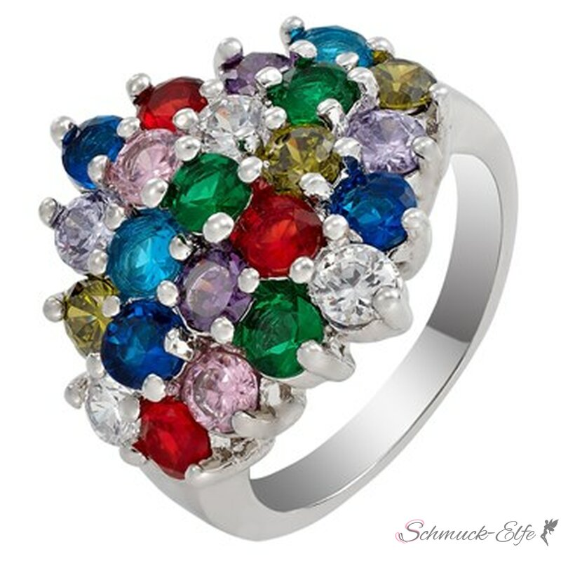 Ring HIPPIE GLAM multicolour mit Weißgold vergo...