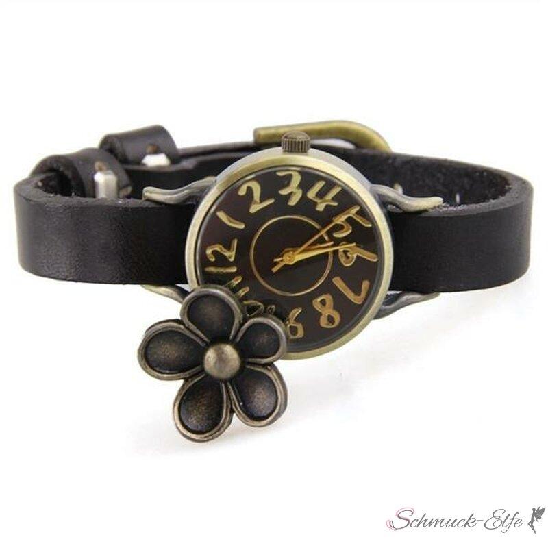 damen armbanduhr vintage flower echt leder schwarz 29 99. Black Bedroom Furniture Sets. Home Design Ideas