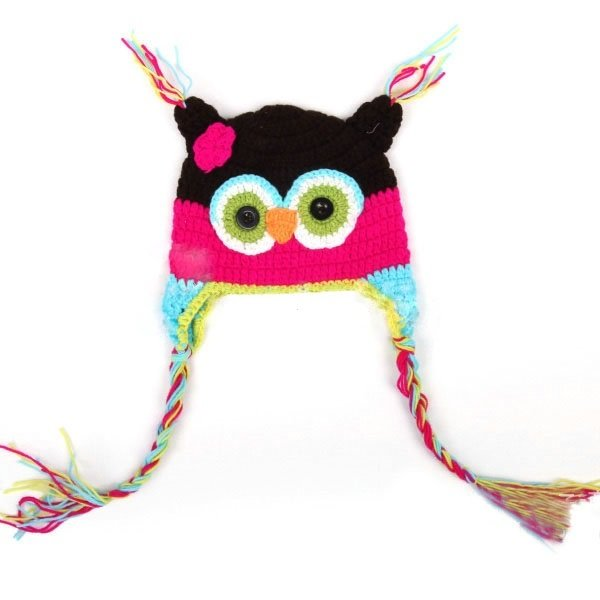 Strick Eulen Kinder Mütze HAPPY OWL bunt