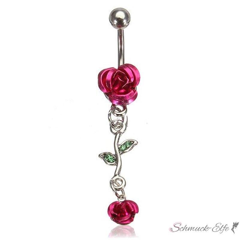 Bauchnabel Piercing Rosen Blüten rot mit Strass...