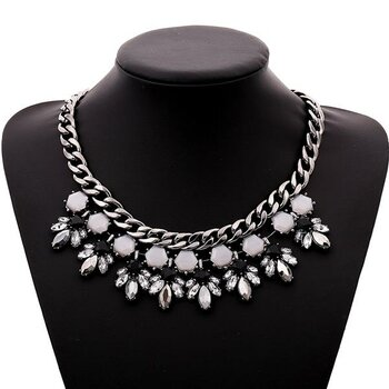 Strass Collier Black & White Panzerkette schwarz...