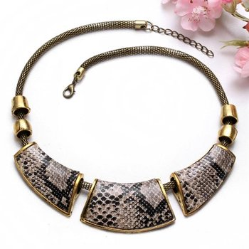Animal Print Collier Schlangen Look  gold im Schmuck Beutel