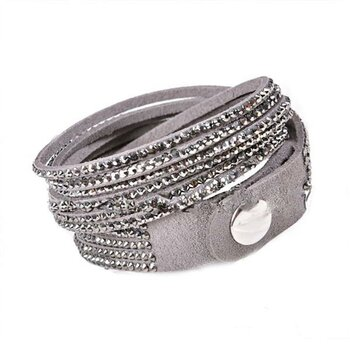Wickel PU Lederarmband Strass magic grey