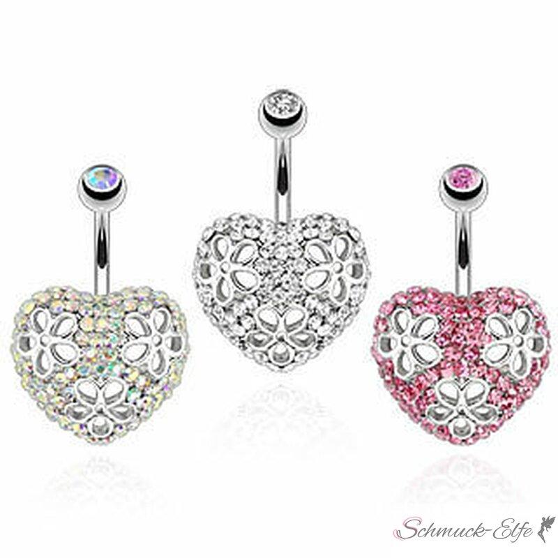 Bauchnabel Piercing Strass Herz mit Blüten Chir...
