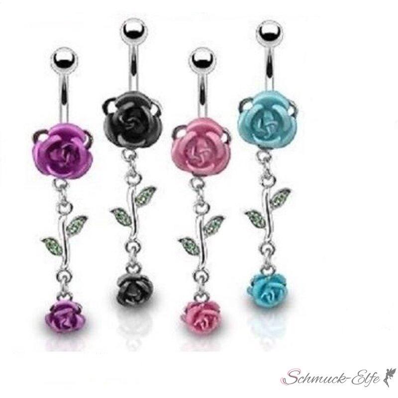 Bauchnabel Piercing Rosen Blüten mit Strass 316...