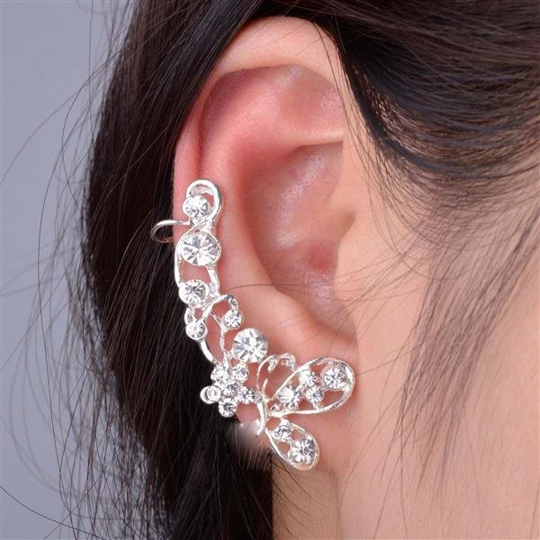 Ohrklemme Ohr Klemme Fake Piercing Ohrringe Ear Cuff Herz Stern Strass