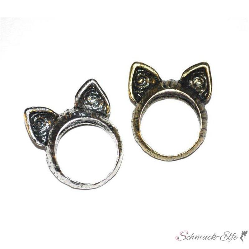 Katzen Ring antik gold