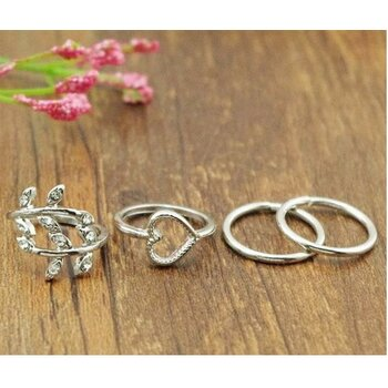 4 tlg. Ring Set Midi Nuckles Ring silber
