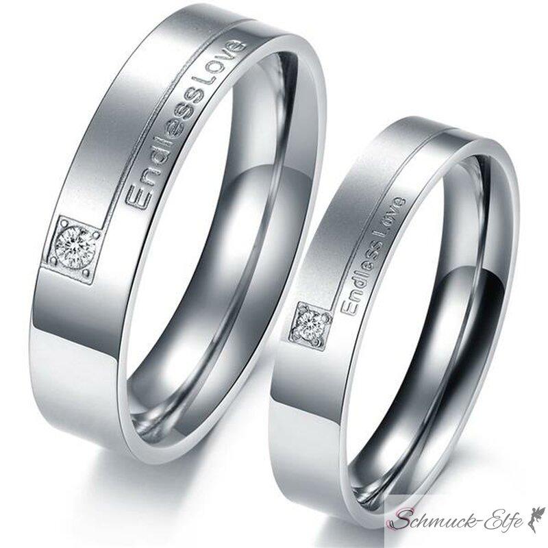 SET Eheringe / Partner Ringe 316 L Edelstahl Endless Love im Etui verschiedene Größen mit Gravur nur Herrenring