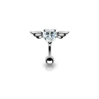 Bauchnabel Piercing Top Down Belly Bar Engelsherz klar...