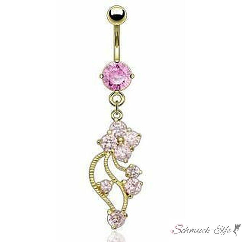 Bauchnabel Piercing Blütenranke Zirkonia rosa m...