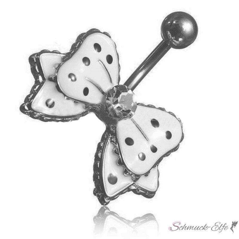 Bauchnabel Piercing Schleife schwarz weiß Stras...