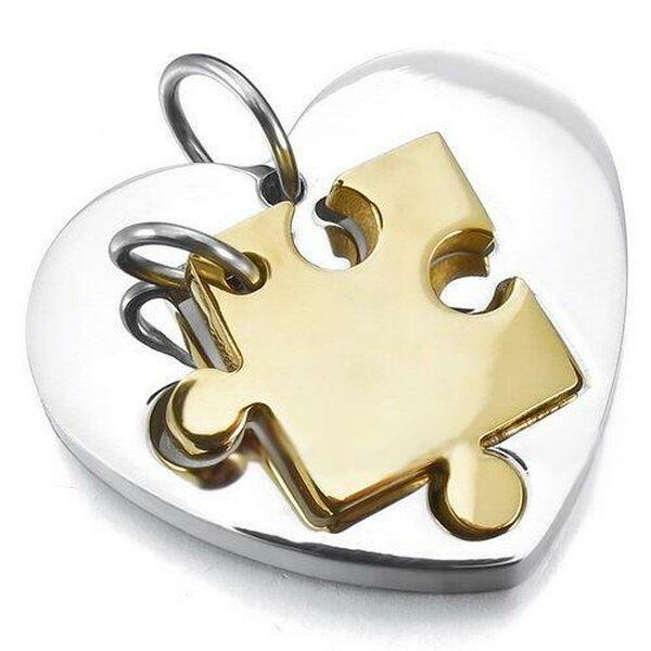 partnerketten puzzle gold mit herz silber edelstahl inkl ketten im e 98 22 chf. Black Bedroom Furniture Sets. Home Design Ideas