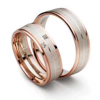 SET Eheringe / Trauringe Rosè Love 6 mm weißgold/...