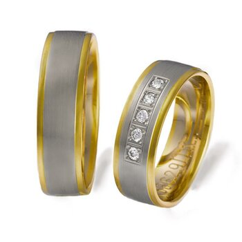 SET Eheringe / Trauringe Romantic Love 6 mm in Gelbgold/...