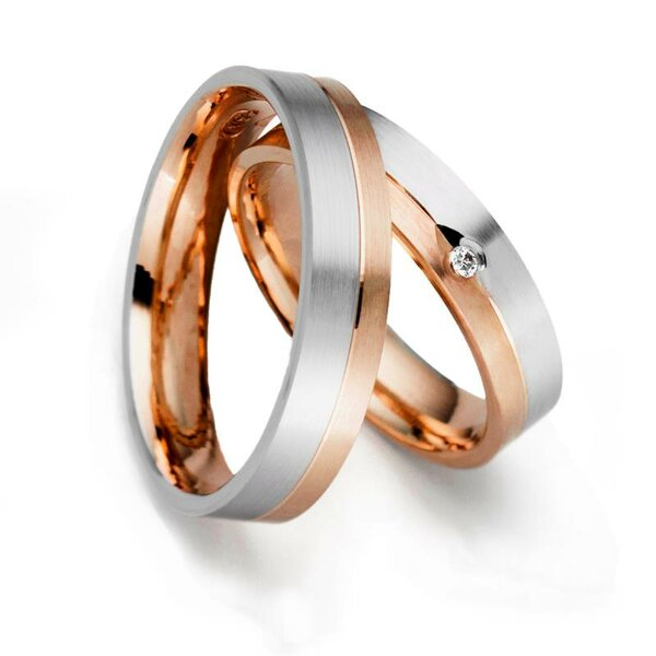 SET Eheringe / Trauringe / Partnerringe Faithful Love 5 mm in 333 Rosegold/ 925 Sterling Silber im Etui mit Gravur