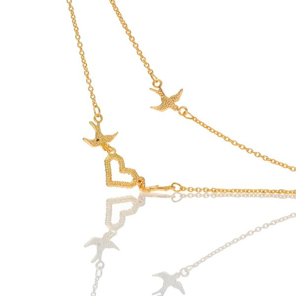 Collier Follow Your Heart Zirkonias mit vergoldet im Schmuck Beutel