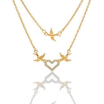 Collier Follow Your Heart Zirkonias mit vergoldet im...