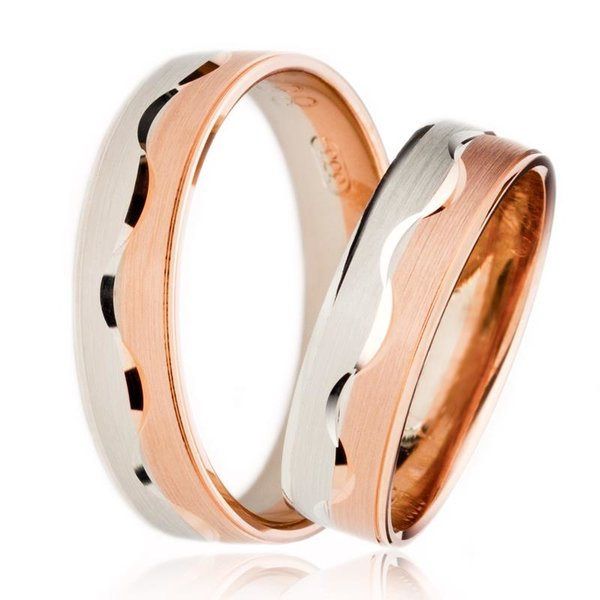 SET Eheringe / Trauringe Loving You 5 mm in Rosegold/ Weißgold im Etui mit Gravur