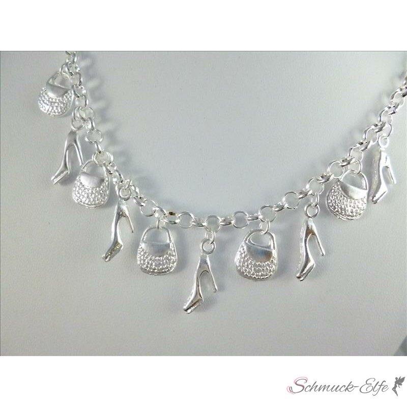 shopping Bettelkette 925 Silber plat. mit 10 An...