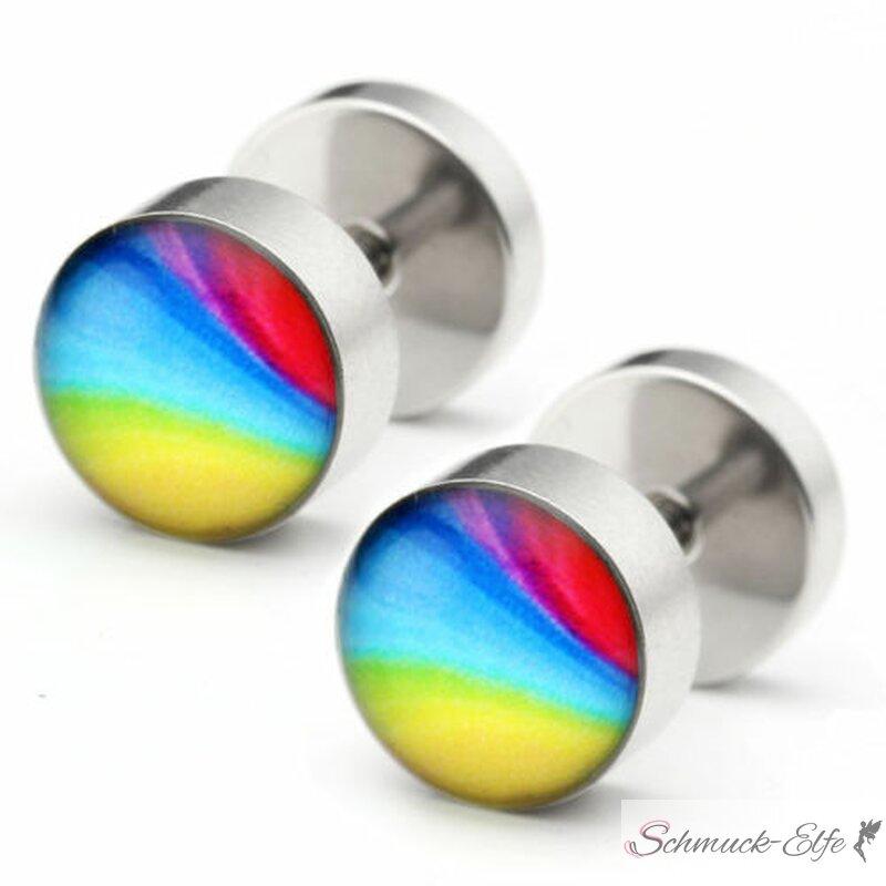 1 Fake Plug Rainbow Edelstahl