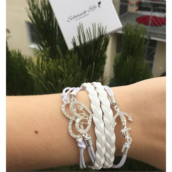 Armband Infinity LOVE ANKER Strass Silber weiß