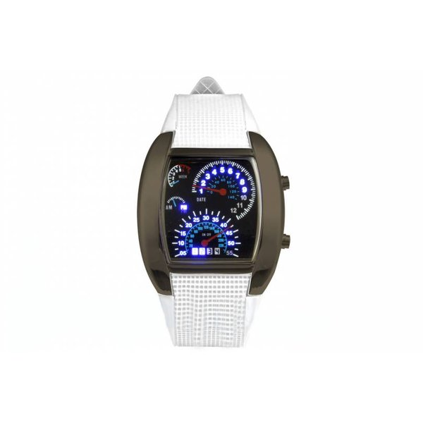 LED Tacho Uhr  weiß Funktionsuhr