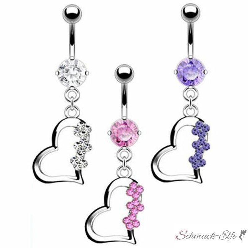 Bauchnabel Piercing Herz mit Blüten 316 L Chiru...