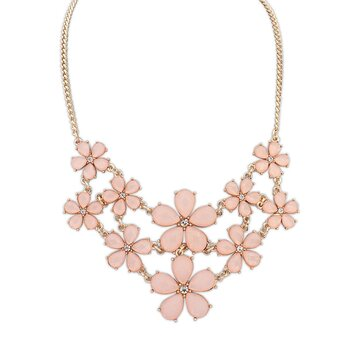 Statement Kette / Collier Flower Summer pastell Pfirsich...