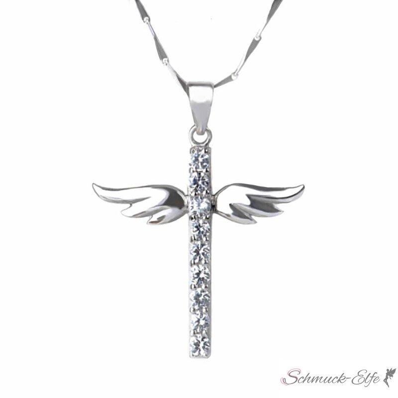 Breite Schlangenkette Silber 925 Kreuz Anhänger Kette massiv Collier Halskette