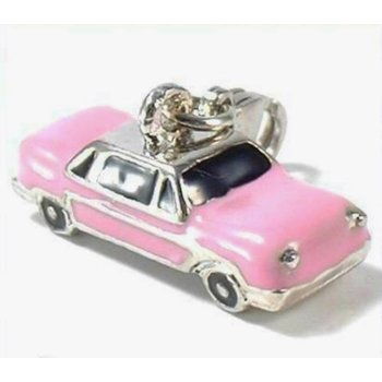 Auto Charm Oldtimer rosa  Emaille
