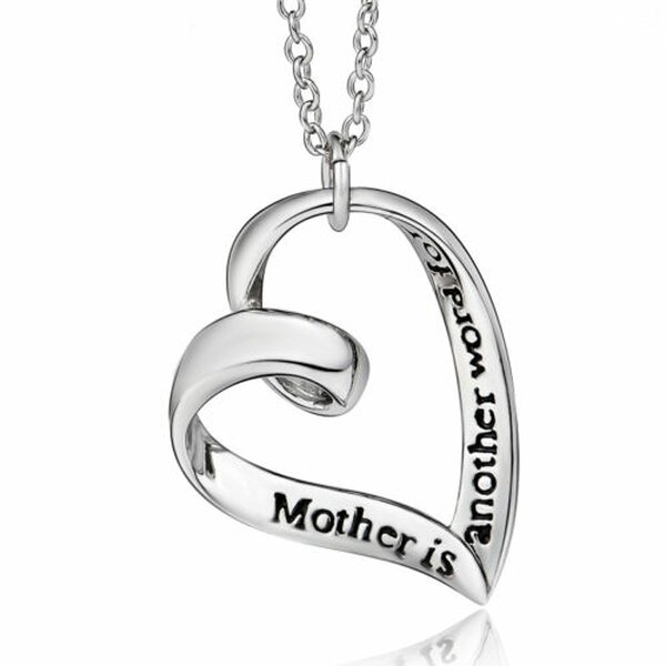 Herz Anhänger Mother is another word for love  inkl. Gliederkette aus 925 Silber im Etui