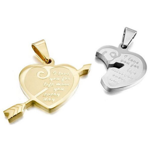 Partnerketten Herz I LOVE YOU FOR LIFE  Edelstahl gold silber inkl. Ketten im Etui GRAVUR OPTION