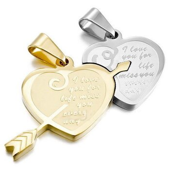Partnerketten Herz I LOVE YOU FOR LIFE  Edelstahl gold...