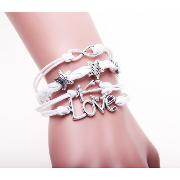 Armband Infinity, Anker, Sterne & Love weiß