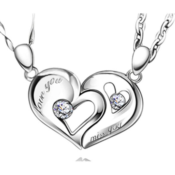 Partnerketten Herz Love You & Miss You 925  Silber Zirkonias  inkl. Ketten im Etui GRAVUR OPTION