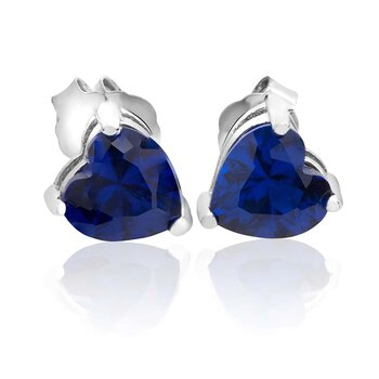 1 Pair of Ear Plugs Heart Sapphire 925 silver